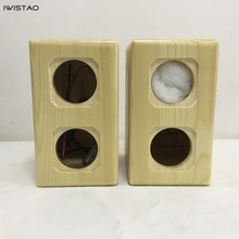 IWISTAO Dual Full Range Unit ที่ว่างเปล่าลำโพงตู้ 1 คู่ Pine ไม้สำหรับ Peerless 2.5 นิ้ว DIY