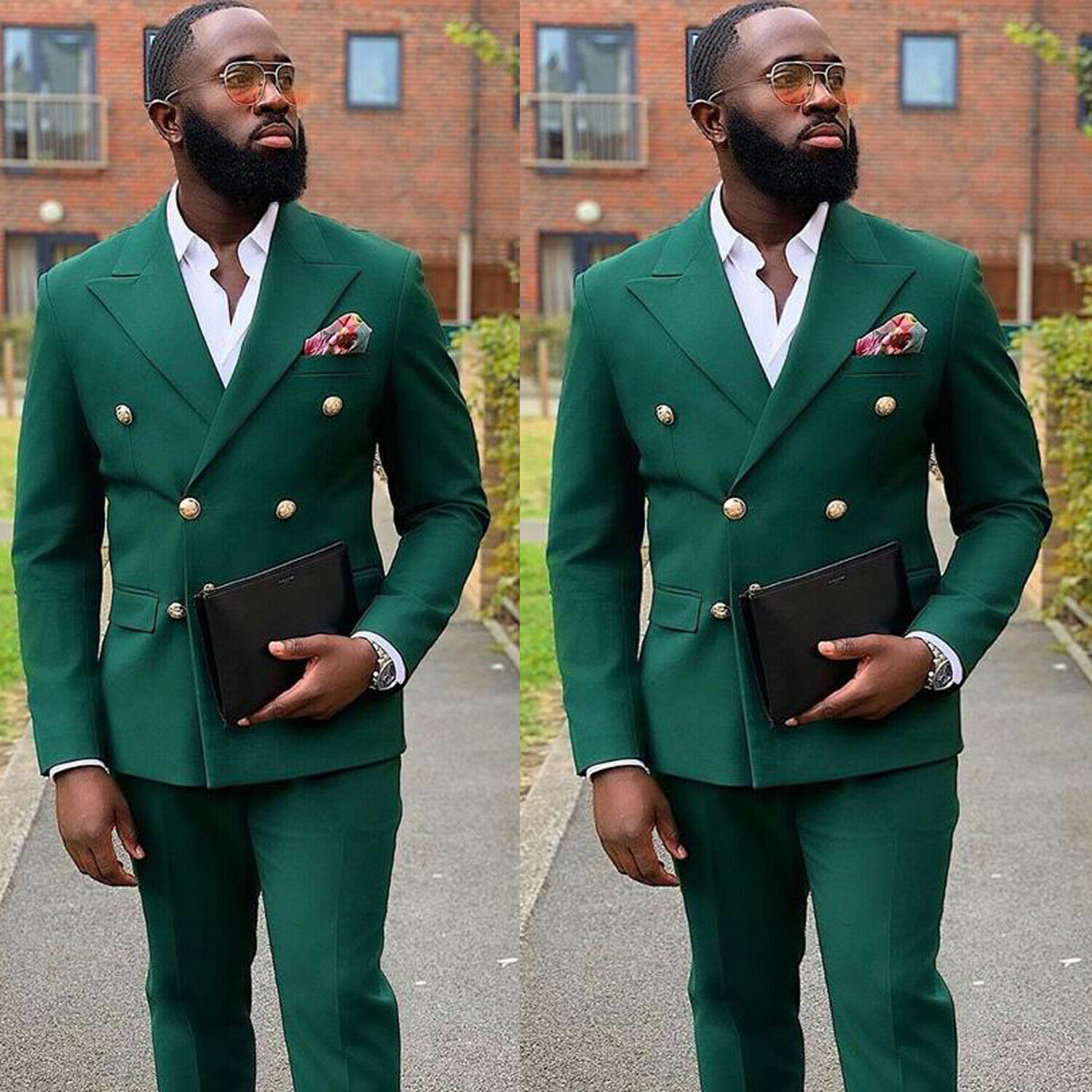 Latest design pointed Lapel double breasted green men suits for wedding slim fit groom formal business man suit Coats and pants