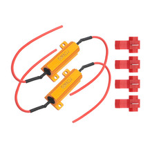 2pcs Fast Hyper Flash Turn Signal Blink 6 ohm 50W Load Resistor Fix LED Bulb Decoder Resistor w/ T-Taps