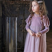 Babe Kids Tutu Corduroy Patchwork Princess Girls Clothes Ins Party Pretty Kids Candy Pink Black Color Tulle Dress