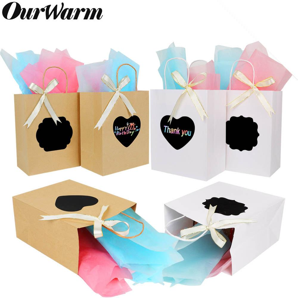 OurWarm 6Pcs DIY Gift Bags With Scratch Paper Panel Tissue Ribbon Brown/White Kraft Paper Bag Wedding Favor For Guest Sac Cadeau