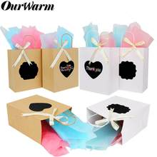 OurWarm 6Pcs DIY Gift Bags with Scratch Paper Panel Tissue Ribbon Brown/White Kraft Paper Bag Wedding Favor for Guest Sac Cadeau(China)