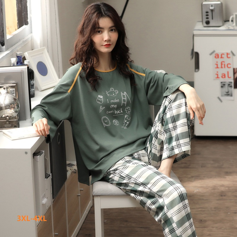 M To XXXL 4XL Big Size Women Home Wear Lounge Clothes Long Sleeve Pajamas Sets Cotton Sleepwear Girls Homewear Housewear
