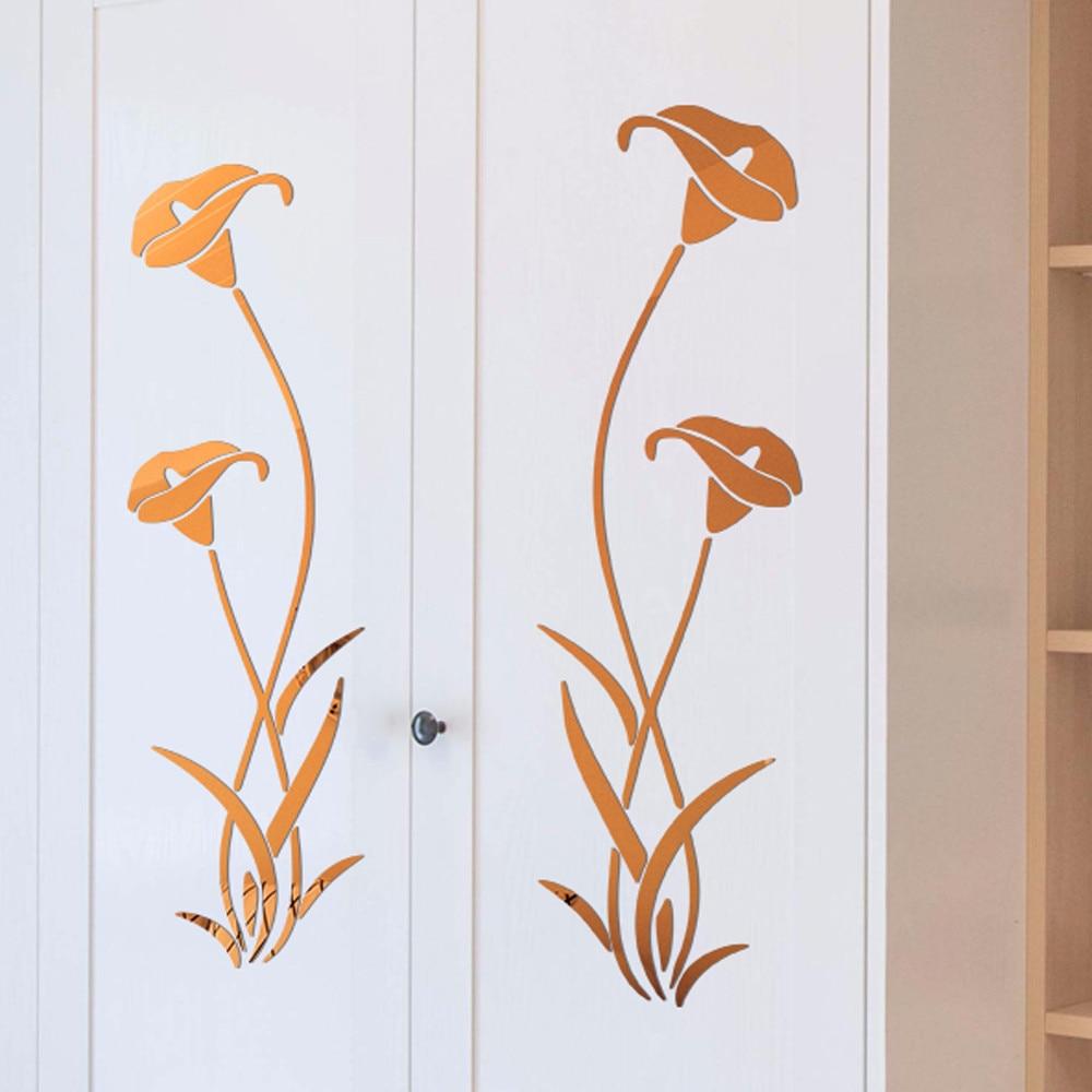 3D своими руками акриловый в форме цветка настенные стикеры современный наклейки украшения в виде цветка лотоса в 3D наклейки на стену в спал...