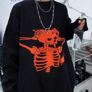 2020New Loose Sweater Women Gothic Punk Skull Pattern Oversized Sweater Jumper Full Sleeve Female Streetwear SweatersSkull sweat punk style multilayered paw skull sweater chain for women