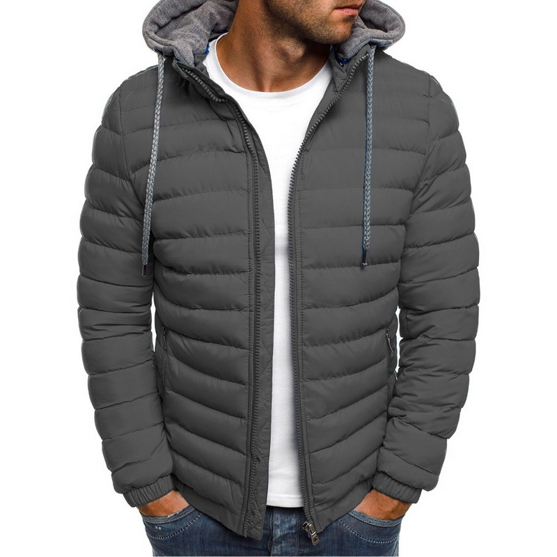 Lightweight Warm Winter Parkas Mens Striped Solid Zipper Pocket Trench Cotton Hoody Parkas Male 2019 Clothing