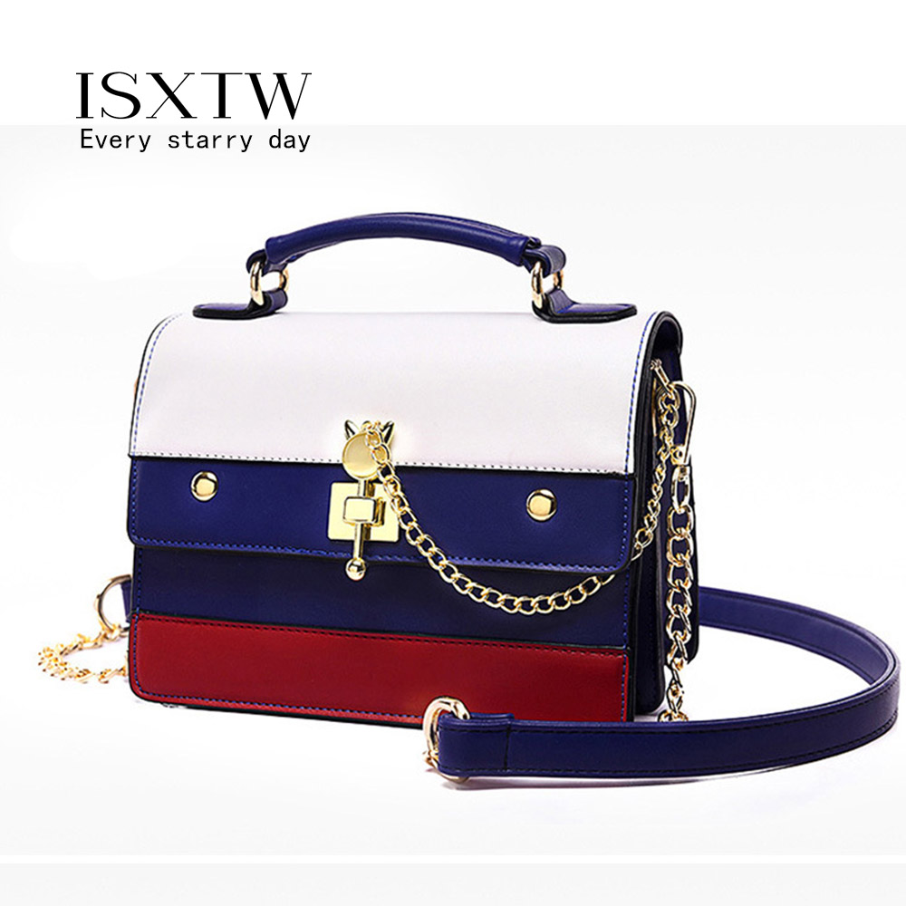 ISXTW Bags for Women 2019 Fashion PU Leather Women Handbag Hit Color Portable Shoulder Messenger Bag Travel Tote Crossbody A36 in Top Handle Bags from Luggage Bags