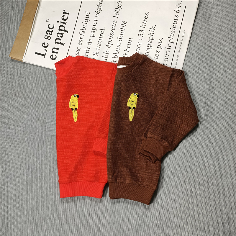 yellow parrot sweaters red/brown for  kids boys girls autumn 3