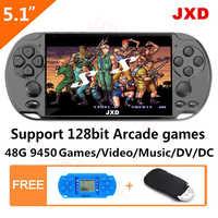 JXD 48GB 128Bit consola de juegos portátil 5,1 pulgadas MP4 consola de videojuegos incorporado en 9450 juego para arcade/gba/gbc/snes/fc/smd chico regalo