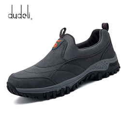 Unisex Suede Breathable Casual Sneakers men outdoor Slip-on Old man hiking shoes women fashion Non-slip soft Walking shoes