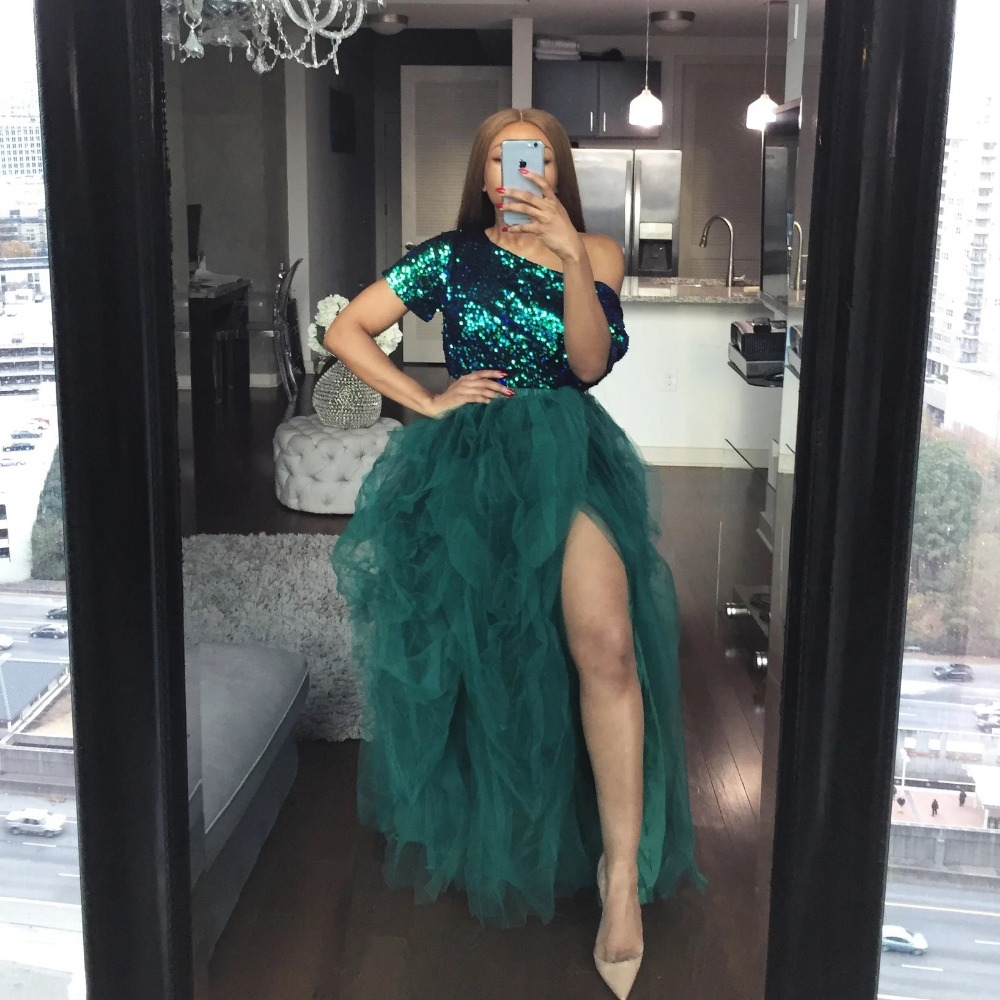 Hot Sale High Slit Tulle Tutu Skirts Extra Puffy Ball Gown Prom Dresses Hi Slit Women Long Skirt Party Gown NO TOP