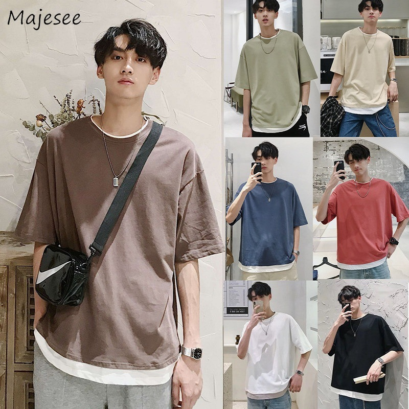 Men 5 Quarter Sleeve Plus Size Patchwork T-shirts All-match Korean Style Harajuku Streetwear Casual New Ulzzang Daily Loose Blue