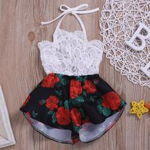 Baby Kid Girl Print Gallus Hollow Out Lace Sleeveless Romper Junpsuit Clothes