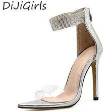 DiJiGirls Summer Women High Heel Sandals Fashion Rhinestone Pointed Head Stiletto Heels Open Toe Back Zipper Shoes