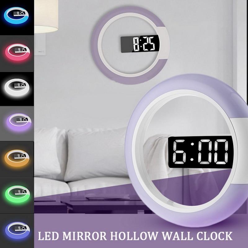 LED Mirror Hollow Wall Clock Creative Clock With Alarm Clock Temperature Display Ground Purple Home Decoration Clock ^