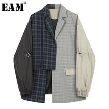 EAM-chaqueta holgada de manga larga con solapa nueva para mujer, Blazer a cuadros, color azul, asimétrico, talla grande, para primavera y otoño, 2021, 1B4690