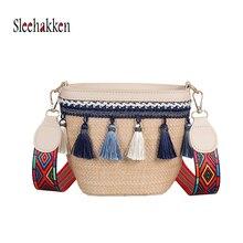Womens Tassels Straw Woven Bag Beach bag Crossbody Small  Wide Shoulder Strap Braided Travel Messenger INS