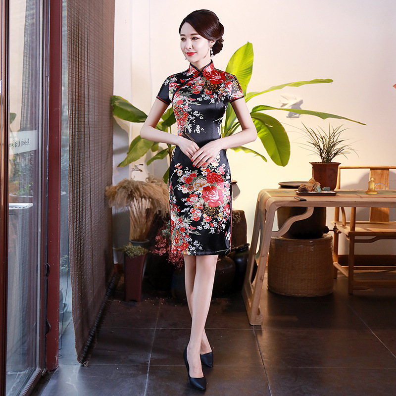 Lady Slim Oversize 3XL-6XL Chinese Style Party Prom Dress Satin Mandarin Collar Short Qipao Sexy Print Flower Cheongsam Vestidos