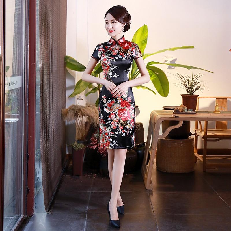 Lady Slim Oversize 3XL-6XL Chinese Style Party Prom Dress Satin Mandarin Collar Short Qipao Sexy Print Flower Cheongsam Vestidos