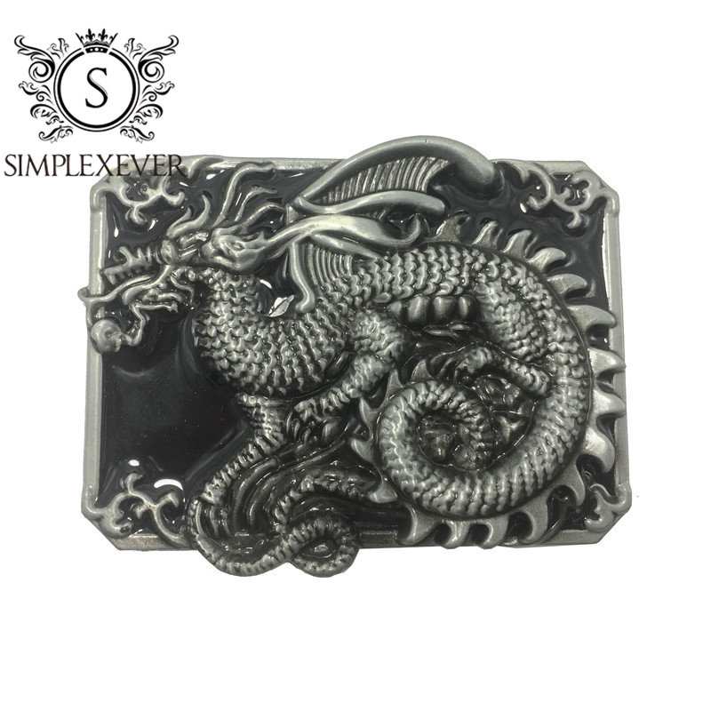 Serpent Dragon Pin Belt Buckle Western Style Fit Leather Belt DIY
