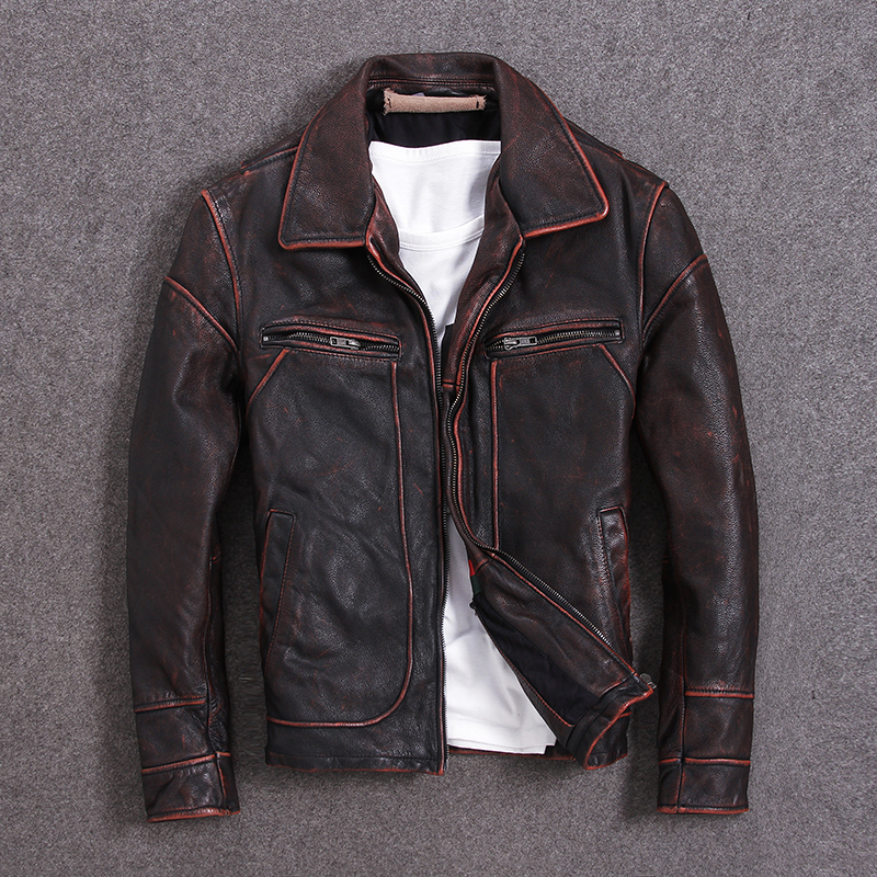 Vintage Men Leather Jacket 100% Cowhide Vintage Black Red Brown Leather Jackets Men Winter Coat Clothing M100