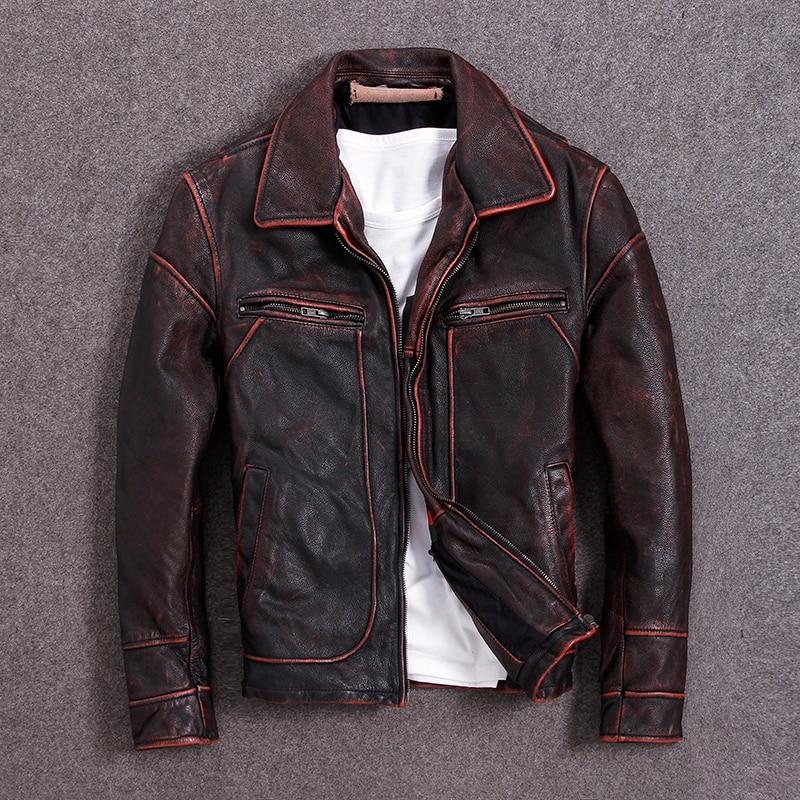 Vintage Men Leather Jacket 100% Cowhide Vintage Black Red Brown Leather Jackets Men Winter Coat Clothing M100