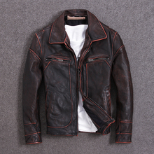 Vintage Men Leather Jacket 100% Cowhide Vintage Black Red Brown Leather