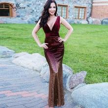 Bodycon Dress Velvet Mermaid Vestidos-De-Fiesta Sexy V-Neck Women New-Fashion Sequined