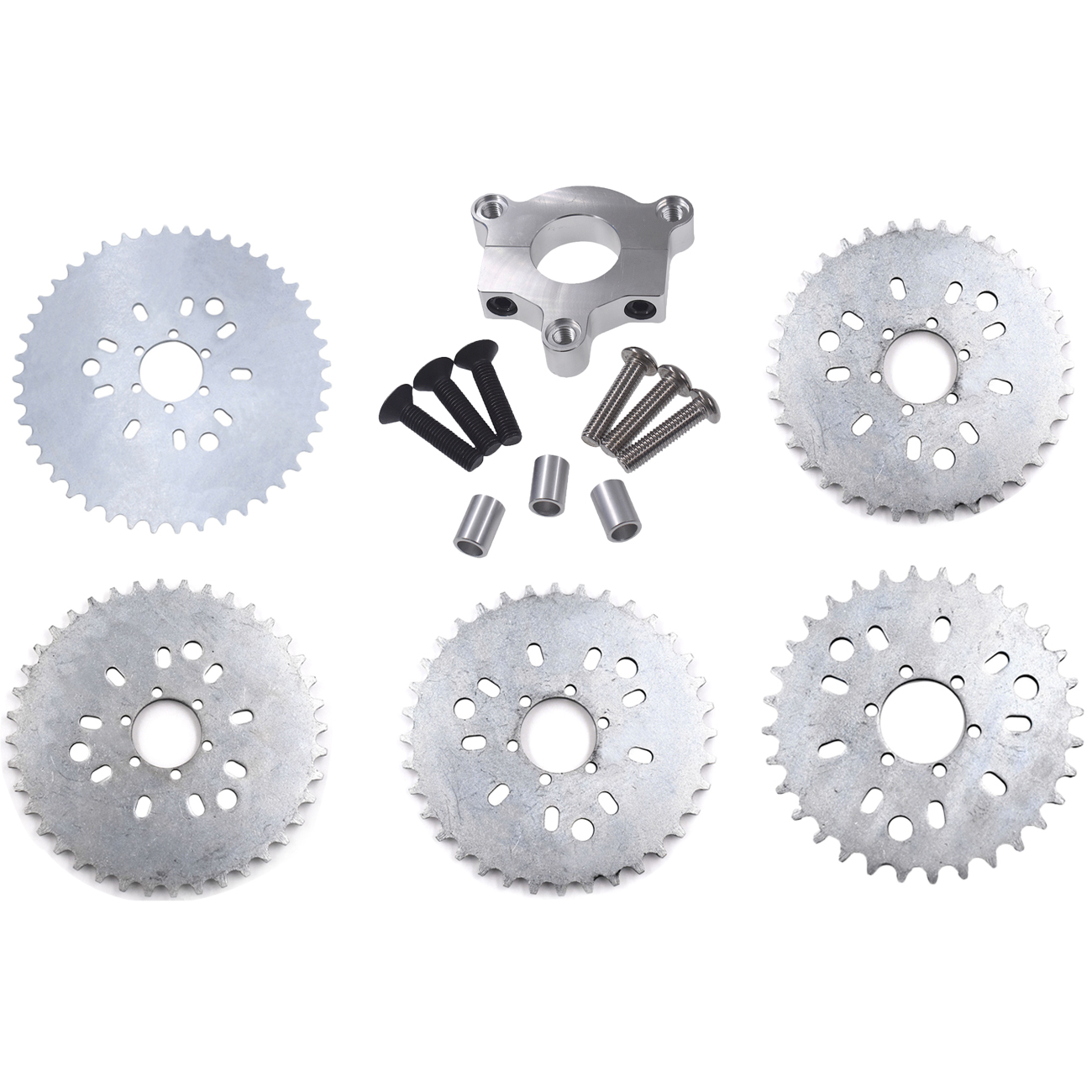 Pouvoir 32T 36T <font><b>38T</b></font> 40T 44T <font><b>Sprocket</b></font> Silver CNC Adaptor For 415 Chain Motorized Bike H/P Part image