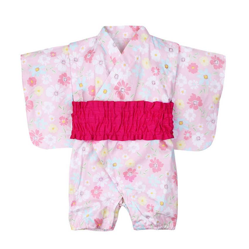 Традиционная одежда для малышей в японском стиле; Кимоно; комбинезон из хлопка с принтом; Haori; модное платье для маленьких девочек; От 0 до 1 года