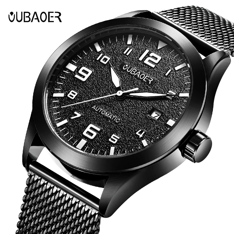 2019 Men Watch Original OUBAOER Top Brand Luxury Automatic Mechanical Watch Leather Military Watches Clock Men Relojes Masculino Pakistan