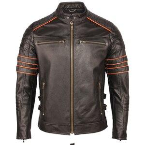 Image 2 - Schwarz Stickerei Schädel Motorrad Leder Jacken 100% Natürliche Rindsleder Moto Jacke Biker Leder Mantel Winter Warme Kleidung M219