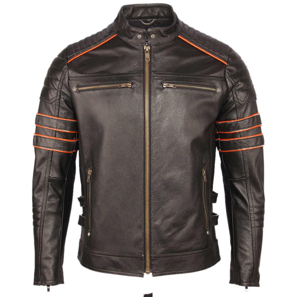 Zwart Borduurwerk Schedel Motorfiets Lederen Jassen 100% Natuurlijke Koeienhuid Moto Jacket Biker Leren Jas Winter Warme Kleding M219