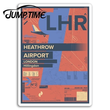 Jump Time Heathrow Airport Vinyl Stickers London England Travel Sticker Waterproof Car Decal Window Bumper Auto Accessories image