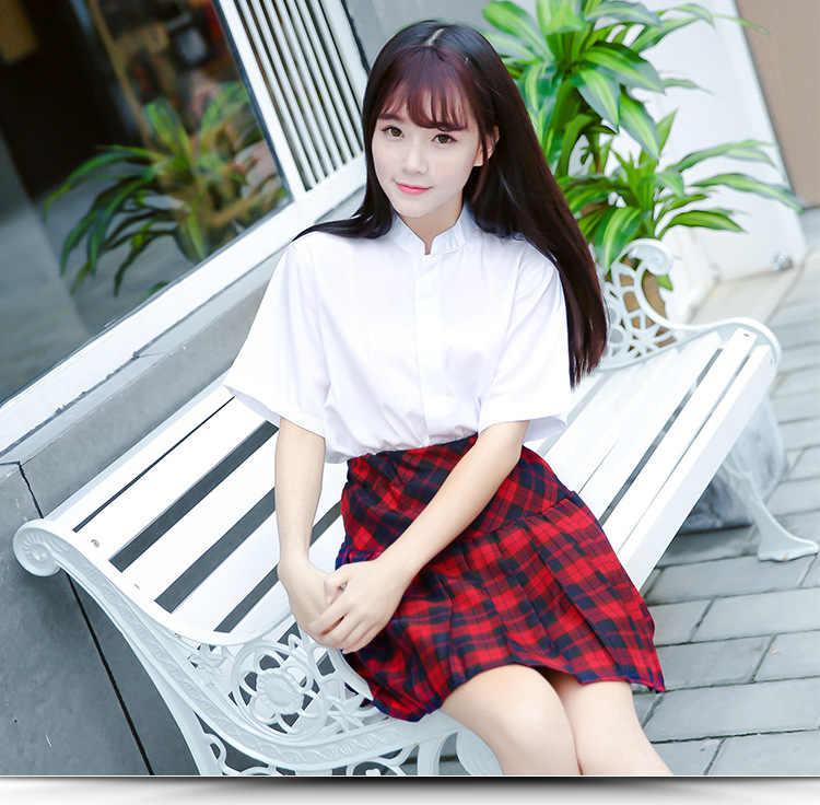 ญี่ปุ่นสาวชุดสีขาวแขนยาวเสื้อยืด Top สีแดงกระโปรงจีบสีดำคอสเพลย์เกาหลีนักเรียนหญิงชุดเครื่องแต่งกาย