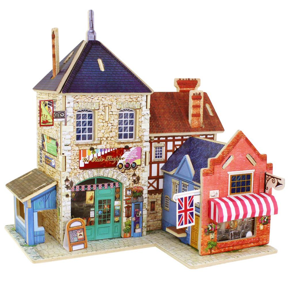 Kuulee 3D Wood Puzzle DIY Model Kids Toy France Style Coffee House Puzzle Building Gifts