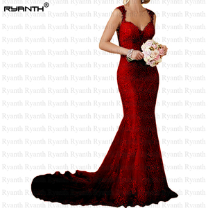 Image 3 - Ryanth ราคาถูก Vestido de noiva เซ็กซี่เปิดด้านหลังลูกไม้แต่งงานชุดเมอร์เมด 2019 ยาวรถไฟ Gowns แต่งงาน Robe De mariage