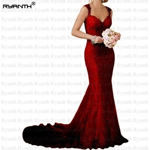 Image 3 - Ryanth זול Vestido דה noiva סקסי גב הפתוח תחרת בת ים שמלות כלה 2019 חוף ארוך רכבת חתונת שמלות Robe De mariage