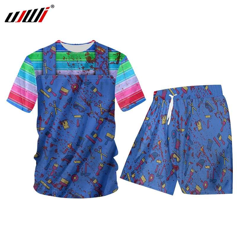 UJWI Summer 2 Piece Set Black Rainbow Denim Fake Two Pieces Short Sleeve Print Tank Tops Shorts Mens Sets Gym Sleeveless Hoodie
