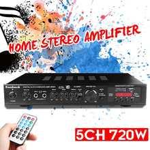 720W Amplificador estéreo de alta fidelidad 5 canales LED Bluetooth Karaoke Digital Amplificador de Audio de coche casa Cine en Casa amplificadores