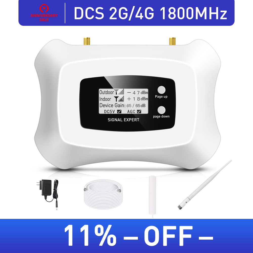 Hot Sale! Smart 2G 4G Cell Phone Amplifier 2G Repeater DCS 1800MHz Mobile Signal Booster Kit With LCD Display 200sqm Cover