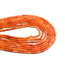 Natural Stone Coral Beads Cylindrical Shape Loose for Jewelry Making  DIY Bracelet Necklace Accessorie 38cm