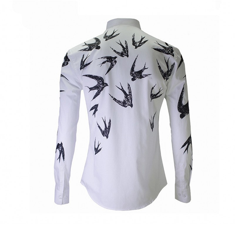 New Luxury Print Shirt Men Top Autumn Winter Slim Swallow Shirts Mens White High Quality Business Casual Cotton Man Shirt 2020