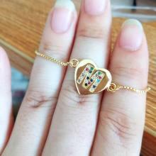 2019 New Heart Letter Bracelet For Women Simple Adjustable Fashion Gold Color Name Bracelets Jewelry classic heart letter a bracelet for women