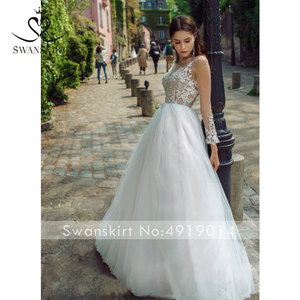 Image 5 - Wedding Dress Sweetheart Appliques A Line Long Sleeve Flowers Vestido de novia 2020 Illusion Princess Swanskirt GY25 Bridal Gown