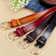 Leather Belt for Women Buckle Female New Fashion Brown Black Coffee Red