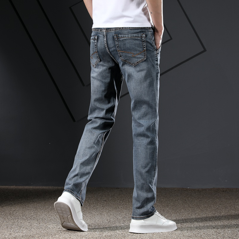 KSTUN Men's Jeans Classic Straight Regular Fit Grey Blue Stretch Jeans for Men Spring Summer Casual Denim Pants Long Trousers 16