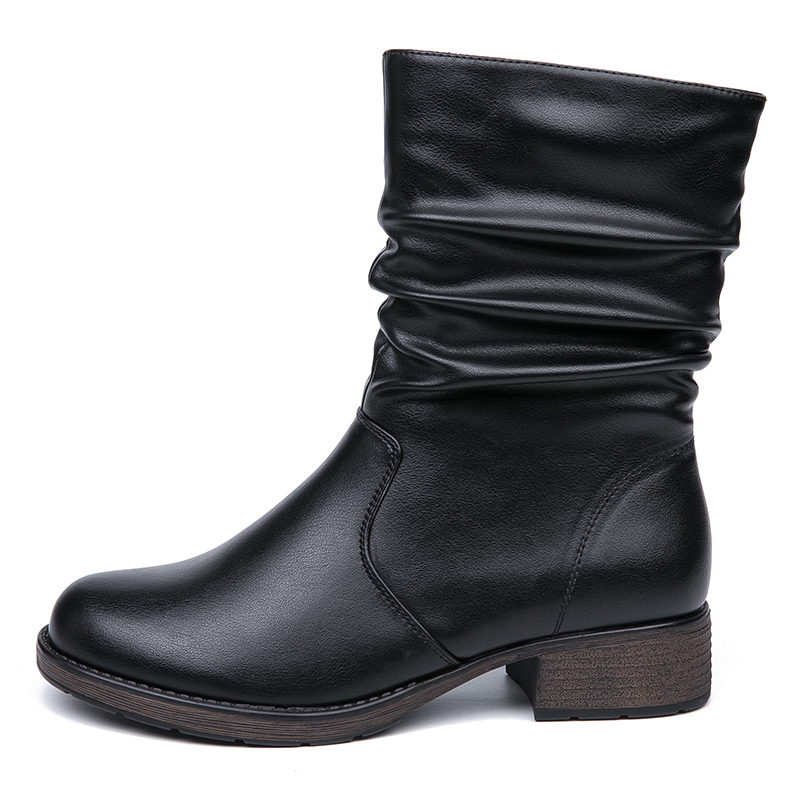 IMG_5652AIMEIGAO High Quality Flat Ankle Boots For Women Retro Style Short Ankle Boots Warm Women Boots Soft Leather Flats Booties