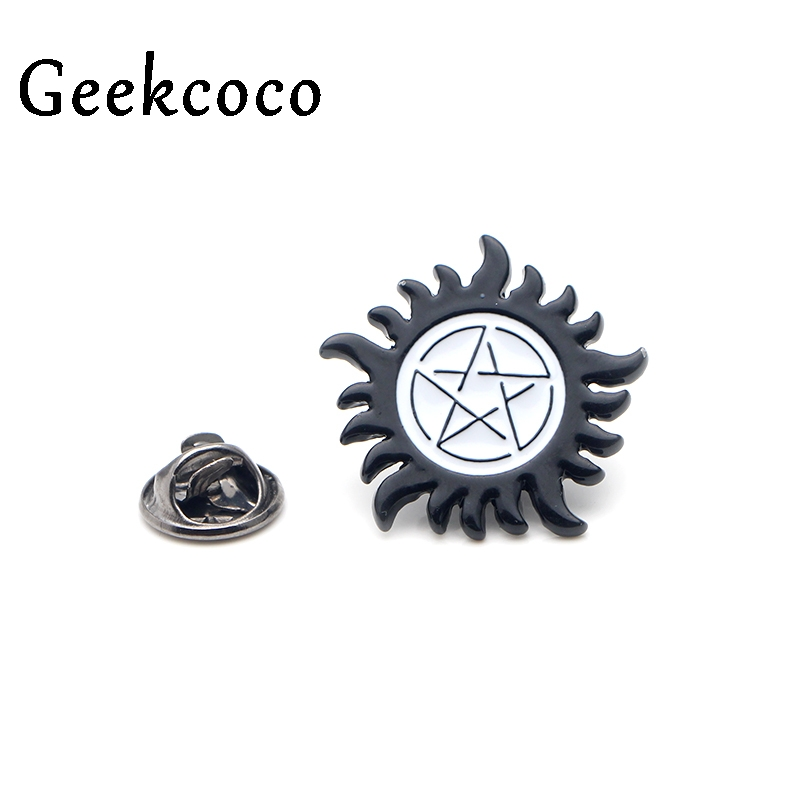 Supernatural SPN punk Zinc alloy pins badges para shirt bag clothes cap backpack shoes brooches badges medals decorations J0100 in Brooches from Jewelry Accessories