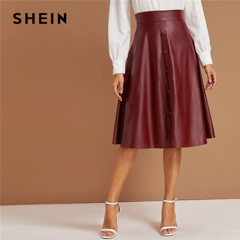 SHEIN Elegant Burgundy Button Up Faux Leather Skirts Womens Autumn High Waist Office Ladies A Line Flared Midi PU Skirt